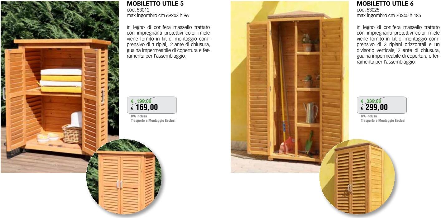 Promozione arredo giardino mobiletti da esterno in legno for Arredo giardino in legno